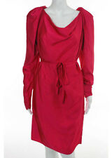 NWT LANVIN Hot Pink Long Sleeve Tie Waist Cowl Neck Dress Sz 4 $2960 5493016