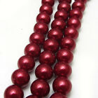 New 6MM 100pcs Charm Round Beads Glass Spacer Pearls Wine Red Color