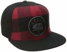 "LEVI`EMBROIDERED ""BEAR"" CLASP BACK BASEBALL CAP HAT. BLACK & RED, ONE SIZE NEW"