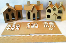 SET of 3 VILLAGE Putz Style Houses-Vintage Village/Vintage 3 Roofs/Vintage House