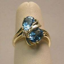 Topaz and Diamond Ring Set in 14K Yellow Gold - Genuine Oval Twin Swiss