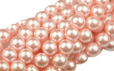 20 Pink Glass Pearl Round Beads 8MM