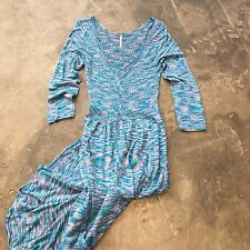 FREE PEOPLE Cozy Knit Button Front Maxi Tunic Long Sweater Dress - Large