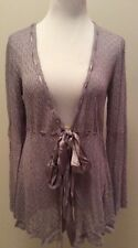 Hale Bob Crochet Lace Delicate Knit Cardigan Sweater Top Medium Periwinkle New