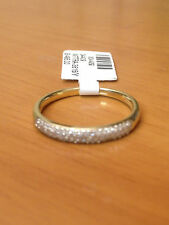3 Rows Diamonds Anniversary Wedding Band Micro Pave Yellow Gold Stackable