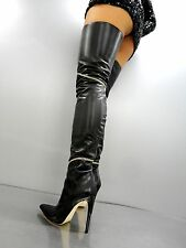 CQ COUTURE COSTUM OVERKNEE BOOT STIEFEL STIVALI GOLD CHAIN LEATHER BLACK NERO 37