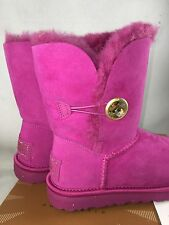 UGG Australia Peony Hot Pink Bling BAILEY BUTTON BLING ORNATE SHEEPSKIN BOOTS 5