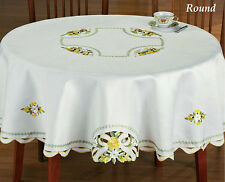 "Yellow Rose Bows & Ribbons Cutwork Embroidered Ivory Tablecloth 70"" Round"