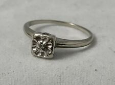 Natural Diamond Accent 14K White Gold Estate Ring  Size 5.25