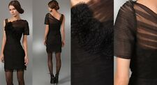 $440 BCBG Max Azria Black Rosette Lace Tulle Cocktail Dress Size 4 Small S