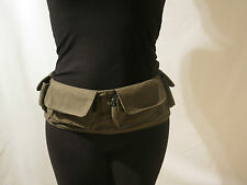 KHAKI CANVAS UTILITY BELT MONEY BAG FANNY PACK BEACH FESTIVAL HIPPY UK SELLER