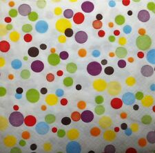 4 x SINGLE PAPER NAPKINS- colored dots  DECOUPAGE  CRAFT PARTY 97
