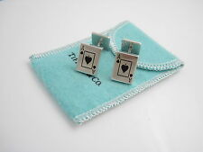 Tiffany & Co Silver RARE Ace Of Spades Enamel Cufflink Cuff Link Cufflinks!