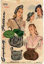1940s Vtg Simplicity Pattern Women's BERET HAT HEAD BAND & BAGS 1076 MED FCUT