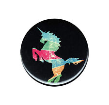 Colorful Unicorn Distressed Look Button Badge Magic Magical Horn Animal Retro
