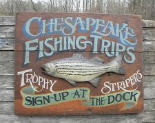Chesapeake Bay Fishing Sign  original hand painted art vintage look rockfish MD