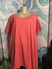 WOMAN WITHIN PLUS 4X NEW CORAL ROUND NECKLINE CROCHET CAP SLEEVE TUNIC TOP