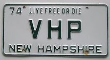 New Hampshire 1974 VANITY License Plate VHP