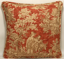 """2 16"""" Waverly Country Life Vintage Toile Rust Brown Cream Designer Throw Pillows"""
