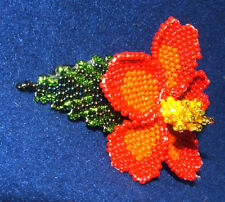 """Columbine Flower Hand Beaded Barrettes 4"""" L French Clip Closure #08"""