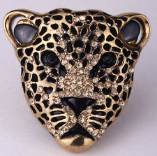 Leopard stretch ring animal bling scarf fashion jewelry antique gold crystal  1Q