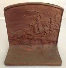 Vintage Cowboy Cattle Roundup Bronze Metal Heavy Bookends Pair Marked