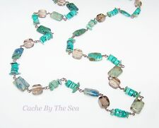"Silpada Turquoise Azurite Quartz Sterling Silver Bead 32"" Necklace N1647 Retired"