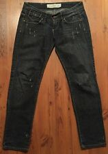 Odbo Collection Distressed Dark Denim Slim Fit Jeans SZ 27 L28 Embroidered