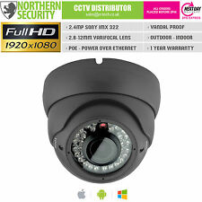 SONY IMX 2MP 2.8-12MM 1080P ONVIF P2P 30M POE AUDIO GREY EYEBALL IP CAMERA CCTV