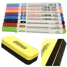 Whiteboard Markers White Board Dry-Erase Marker Pens 8Colors Set + Eraser Rubber