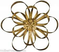 3D Gold Flower Wall Art Sculpture Twisted Metal Floral Wall Ornament Home Decor