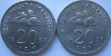 Malaysia 20 sen 1998 coin 2 pcs