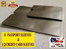 8 Passports & 12 Credit Cards Sleeves RFID Blocking Identity Theft & Protection