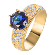 1.5CT Charm Round Blue Sapphire 925 Silver 18K Yellow Gold Filled Ring Size 8