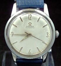 EXCELLENT ORIGINAL VINTAGE MEN 1958 OMEGA AUTOMATIC S-STEEL WATCH SERVICE 470