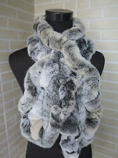 Handmade rex rabbit fur scarf/cape/ warm scarf fungus shape BLACK WITH WHITE TIP