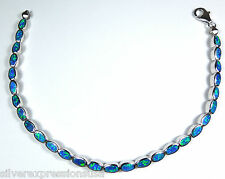 Blue Fire Opal Inlay Solid 925 Sterling Silver Link Tennis Bracelet 8'' Long