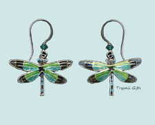 Bamboo Jewelry Radiant DRAGONFLY Cloisonne EARRINGS STERLING Silver Dangle - Box