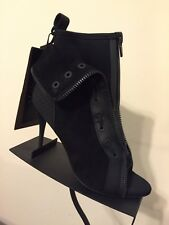 Alexander Wang X H&M Black Scuba Heels Ankle Suede Leather Boots Size 9.5 / 41