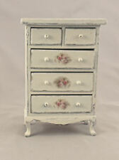 Dollhouse Miniature Shabby Chic Tall Victorian Dresser Cream Floral Decals