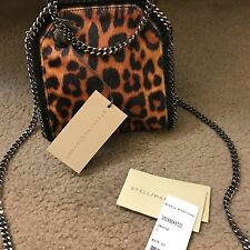 NWT Stella McCartney Tiny Tote Falabella Bag In Black Brown Leopard Animal Print