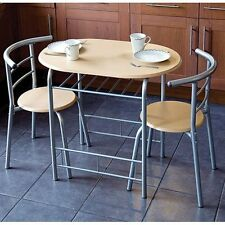 Modern Dining Table and 2 Chairs Set Beech Metal Frame Kitchen