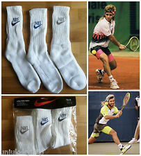 3 X Vtg 80s NIKE BLOCK LETTER Swoosh Tennis Crew Socks Sport AGASSI OG DS Retro