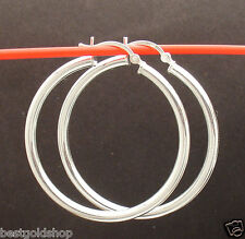 "3mm X40mm 1 1/2"" Large Plain Shiny Round Hoop Earrings Real 925 Sterling Silver"
