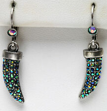 KIRKS FOLLY LITE of the DRAGON CLAW LEVERBACK EARRINGS silvertone