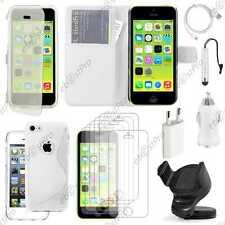 Pack Accessoires Etui Housse Coque iPhone 5C Apple Portefeuille Blanc +Chargeur