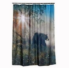 BLACK BEAR SHOWER CURTAIN Set Cabin Hunting Outdoor Bathroom Decor w/ 12 rings