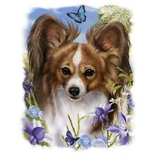Brown PAPILLON DOG Fabric with Flowers on Fabric Panel. Look Below for info.SALE