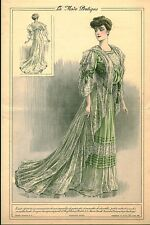 """Publicité Ancienne """" La Mode Pratique Toilette Tea Gown Mousseline   No 52  1905"""