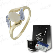 9ct Gold 0.35ct Opal & Diamond Oval Dress Ring WITH GEM CARD Size M RRP £499.99